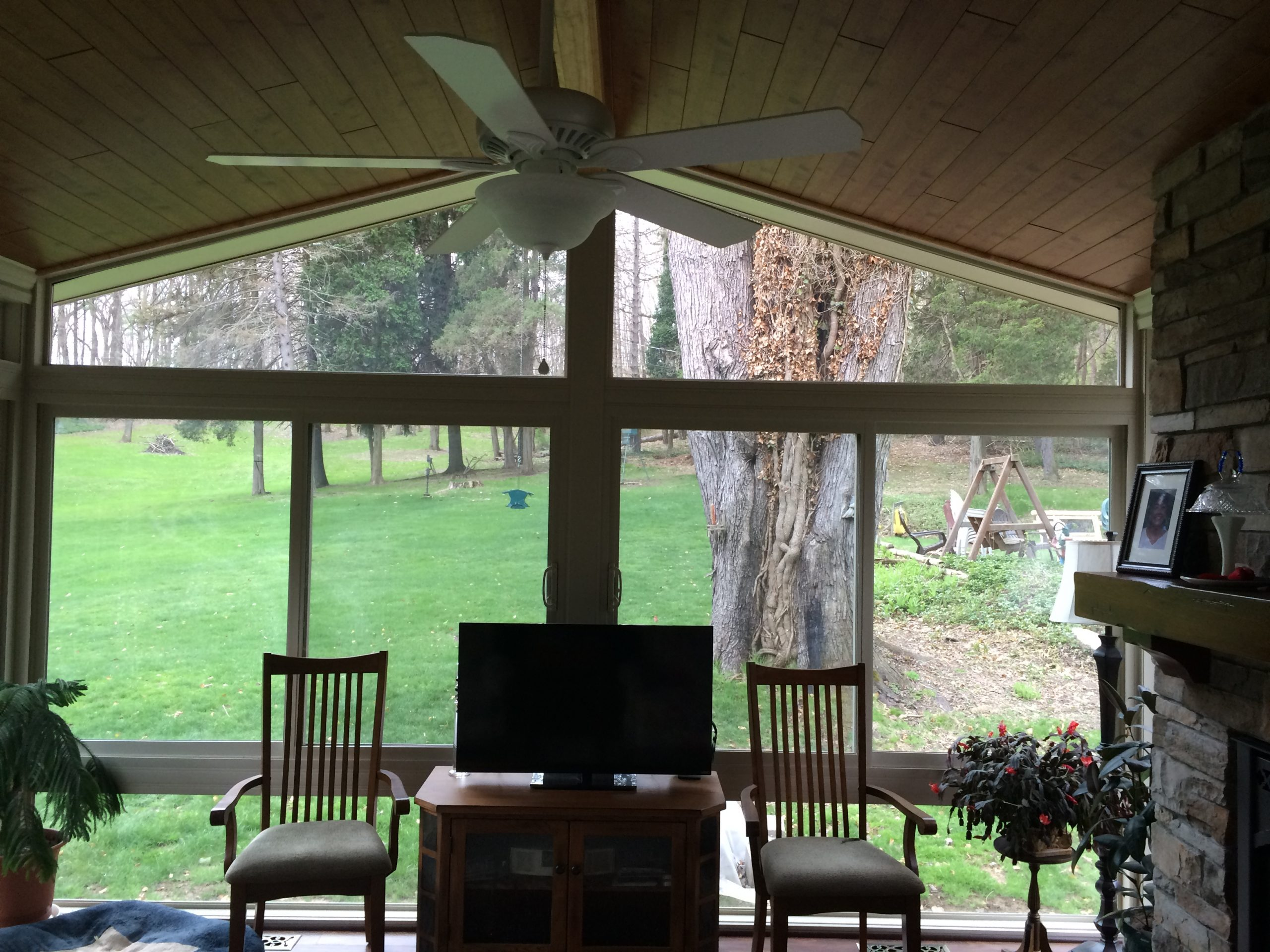 Betterliving fabric shades marketing patio cover recent posts sunrooms - Inside View Of An All Season Vinyl Sunroom With Gable Style Roof By Betterliving Sunrooms